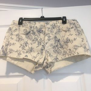 Blue floral, cream denim shorts
